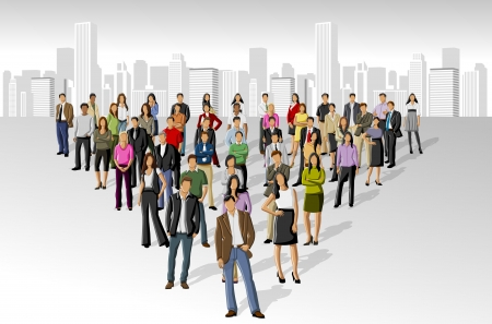 business team meeting: Big group of people on the city  Illustration