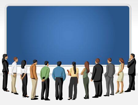 mujeres de espalda: Grupo de personas en busca de dibujos animados mirando la pantalla azul Vectores