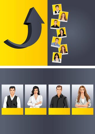 Yellow template for advertising brochure with business people  Vector