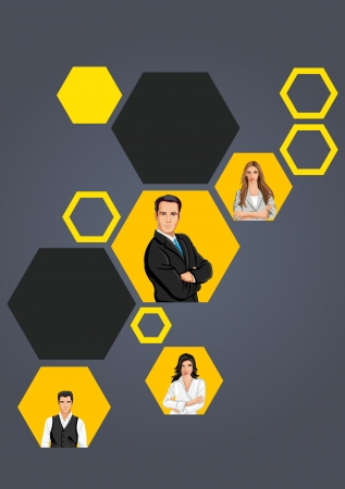 Yellow template for advertising brochure with business people  Stock Vector - 16904427