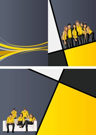 Yellow template for advertising brochure with business people  Stock Vector - 16904425