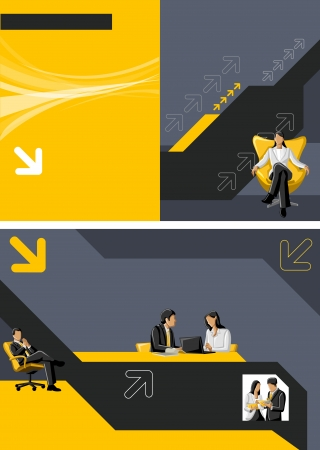 Yellow template for advertising brochure with business people Stock Vector - 16904407