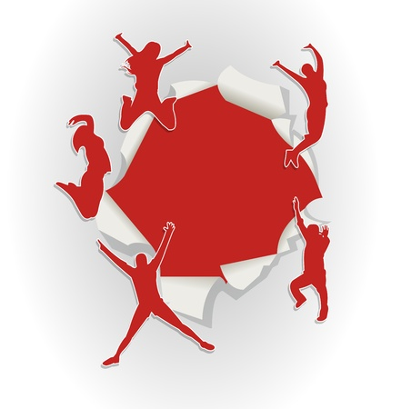 Red template with people jumping out of hole in paper Vector