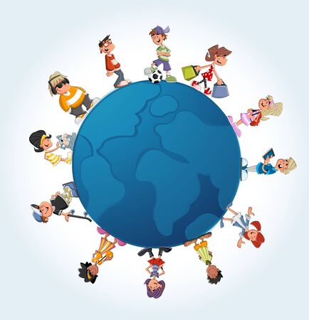 Blue template with teenager cartoon students over earth globe  Vector