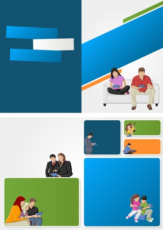 Colorful template for advertising brochure with people with tablets  Stock Vector - 16904442