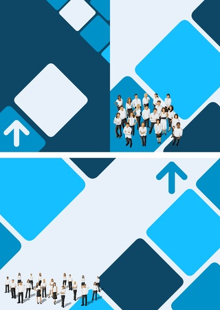 Blue template for advertising brochure with business people Vector