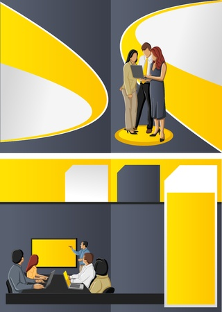 Yellow template for advertising brochure with business people Stock Vector - 16904420