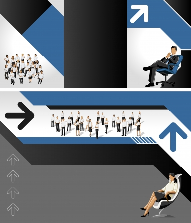 Blue and black template for advertising brochure with business people Stock Vector - 16904482