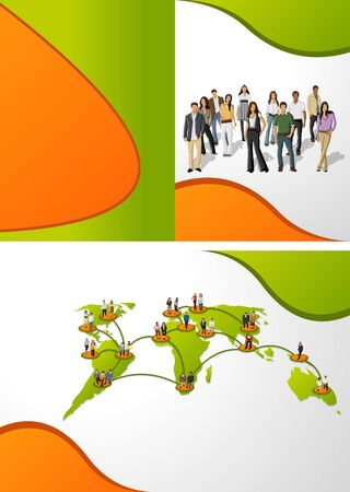 commercial recycling: Green template for advertising brochure with connected people over earth globe  Social network