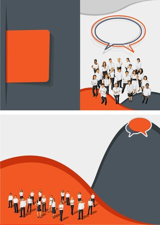 Orange and gray template for advertising brochure with business people Vector