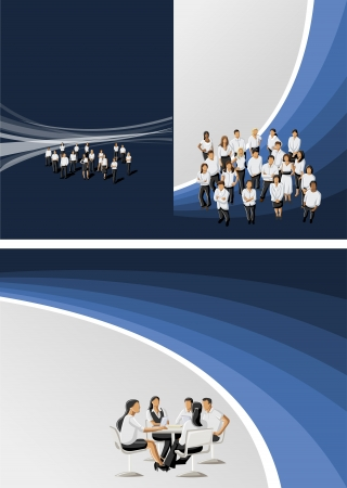 Blue and black template for advertising brochure with business people Stock Vector - 16904477