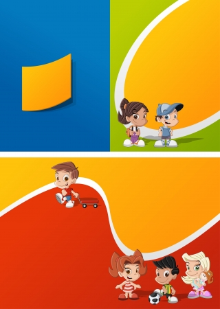 Colorful template for advertising brochure with a group of cute happy cartoon kids playing Vector