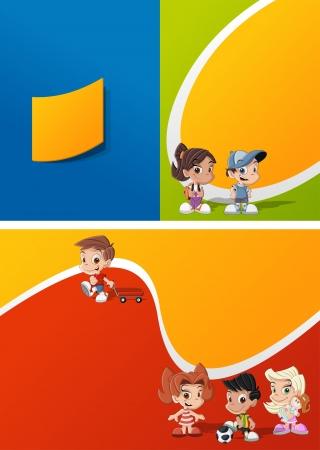 cheerful cartoon: Plantilla colorida para el folleto publicitario con un grupo de chicos lindos dibujos animados felices jugando Vectores