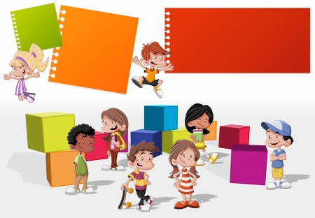 for kids: Colorful template for advertising brochure with a group of cute happy cartoon kids playing Illustration