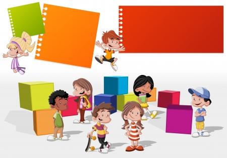 ni�os con pancarta: Plantilla colorida para el folleto publicitario con un grupo de chicos lindos dibujos animados felices jugando Vectores