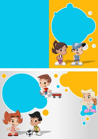Blue and yellow template for advertising brochure with a group of cute happy cartoon kids playing Vector