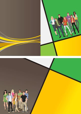 coworker banner: Yellow and green template for advertising brochure with a group of fashion cartoon young people  Teenagers