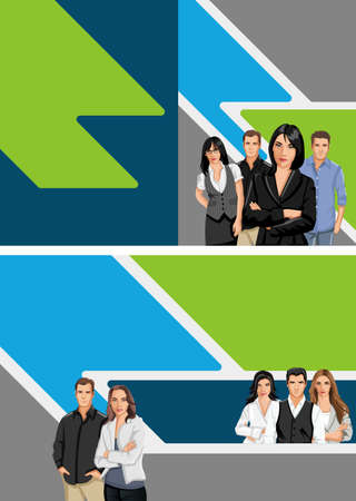 Blue and green template for advertising brochure with business people Stock Vector - 16904462