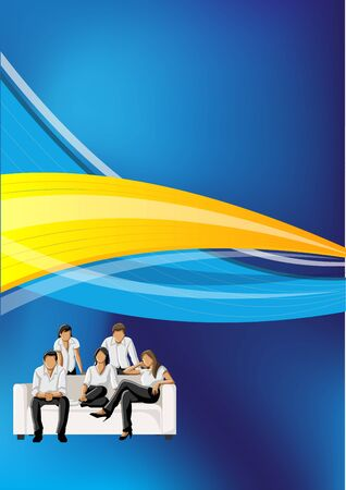 Blue and yellow template for advertising brochure with business people  Vector