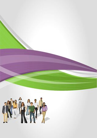 green company: Green and purple template for advertising brochure with business people