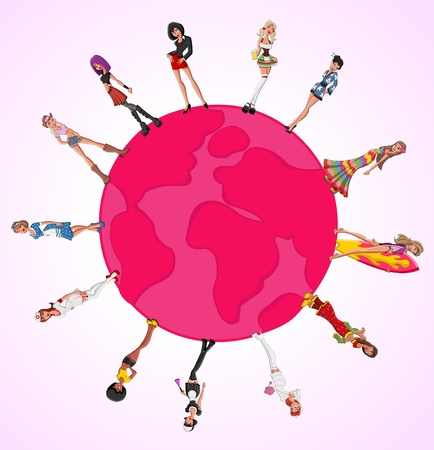 chica surf: Pink plantilla para el folleto publicitario con hermosas chicas sexy de dibujos animados sobre globo terr�queo