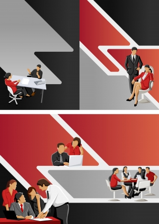 Red and black template for advertising brochure with business people Stock Vector - 16904439