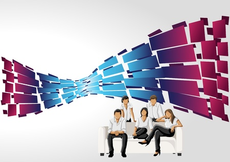 coworker banner: Blue and pink template for advertising brochure with business people  Illustration