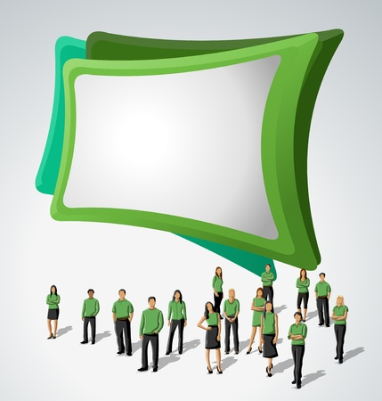 Green template for advertising brochure with business people Stock Vector - 16918539
