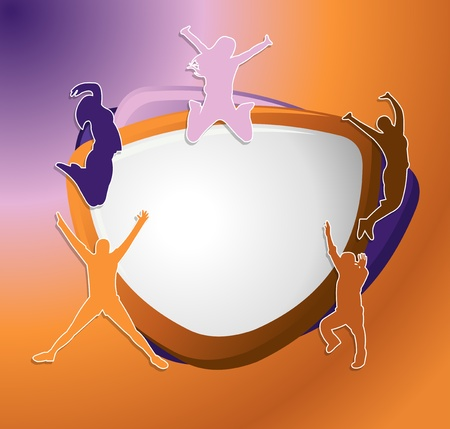 Purple and orange template for advertising brochure with people jumping  Stock Vector - 16918509