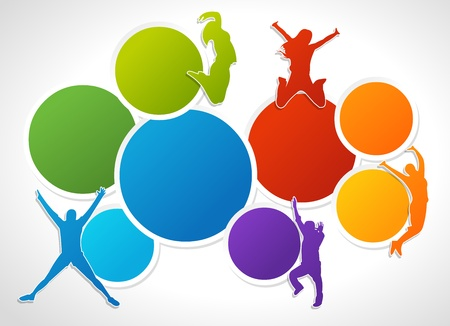 for advertising: Colorful template for advertising brochure with people jumping  Illustration