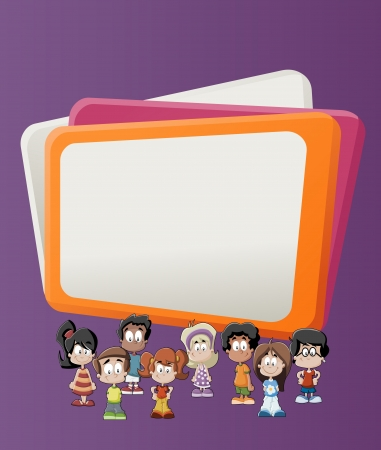 cover girls: Colorful template for advertising brochure with children