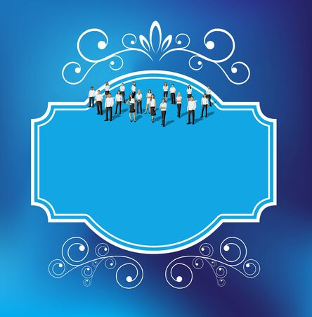 Blue template for advertising brochure with business people  Border design elements for layout   Vector