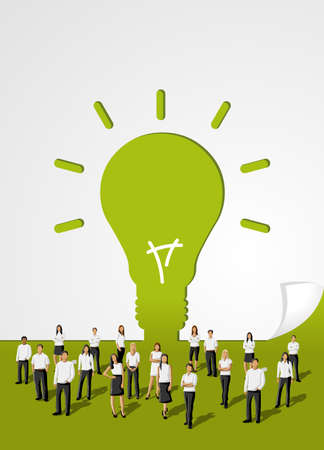 Green template in shape of light bulb idea with business people  Vector