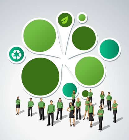 office environment: Green template for advertising brochure with business people