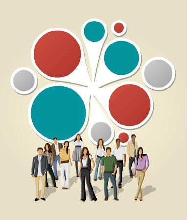 Green and red template for advertising brochure with business people  Vector