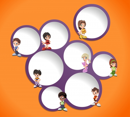 Orange and purple template for advertising brochure with children   Vector