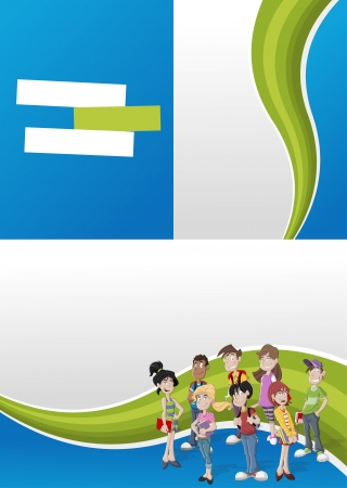Green and blue template for advertising brochure with teenager students  Vector