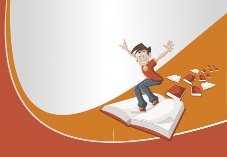 Red and orange template with cartoon boy flying on big book  Vector