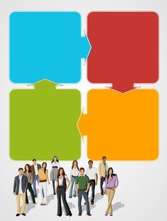 Colorful template for advertising brochure with business people Stock Vector - 16918570