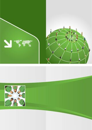 Green template for advertising brochure with connected people over earth globe  Social network  Vector