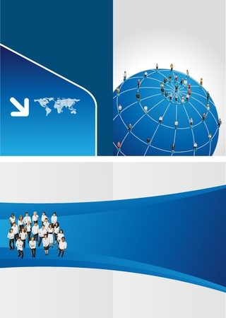 Blue template for advertising brochure with connected people over earth globe  Social network  Vector