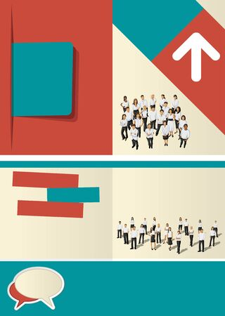 Blue and red template for advertising brochure with business people  Vector