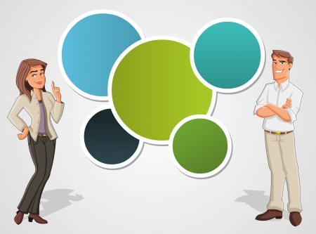 explain: Colorful template with cartoon business man and woman  Presentation screen
