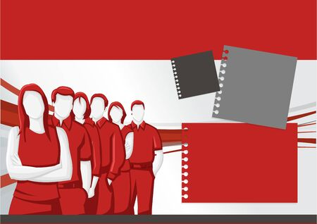coworker banner: Red template for advertising brochure with business people