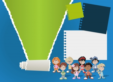 Colorful template for advertising brochure with children Vector