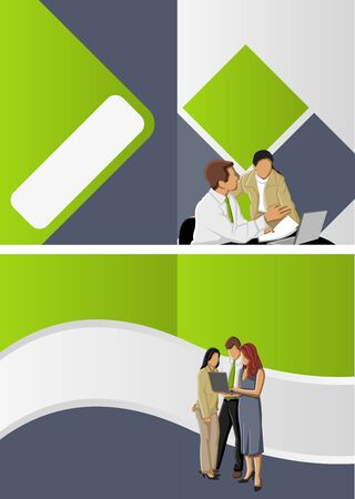 Green and blue template for advertising brochure with business people Stock Vector - 16918534