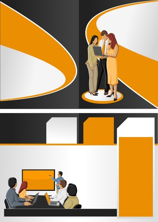 Orange and black template for advertising brochure with business people Stock Vector - 16918535