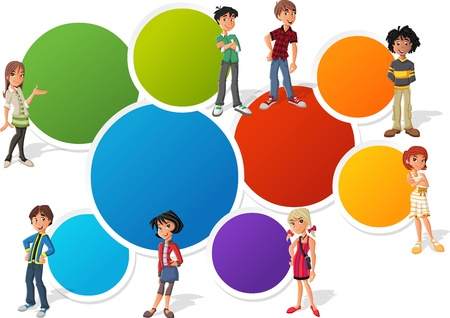 teenager: Colorful template for advertising brochure with teenager students