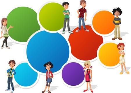 ni�os con pancarta: Plantilla colorida para el folleto publicitario con estudiantes adolescentes Vectores
