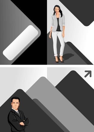 Gray and black template for advertising brochure with business people Vector